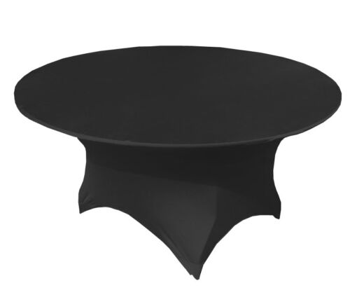 BLACK SPANDEX LYCRA 4FT ROUND BANQUETING TABLECLOTH EVENTS CONFRENCES