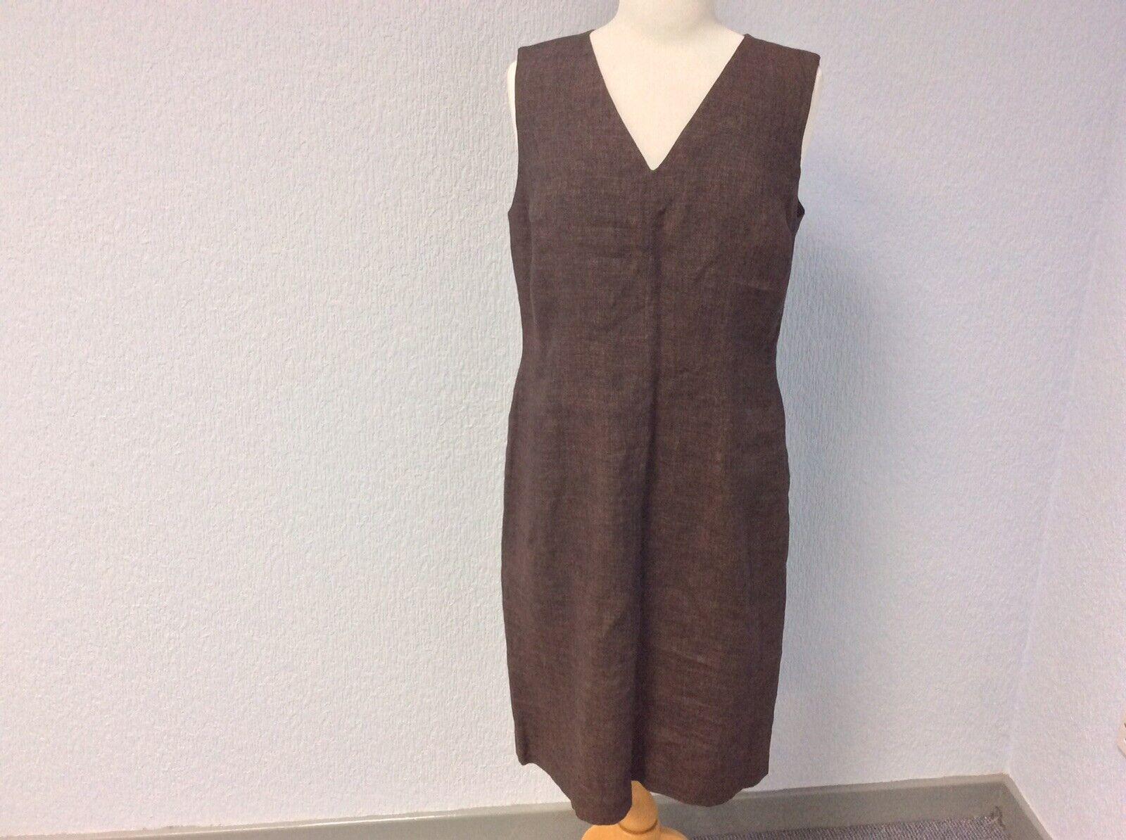 NEW  Hobbs braun Linen Kleid - Sleeveless - Lined - Größe 14