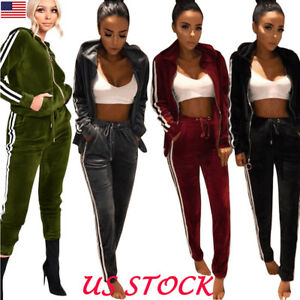 6c7c72689df8 Sexy Women Hoodie Sweat Suit Jacket and Pants Set Velvet Tracksuit ...