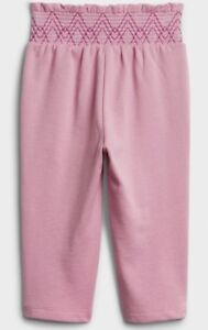 NEW-BABY-GAP-TODDLER-GIRL-PANTS-SIZE-4T-PINK-SMOCKED-WAIST-JOGGERS