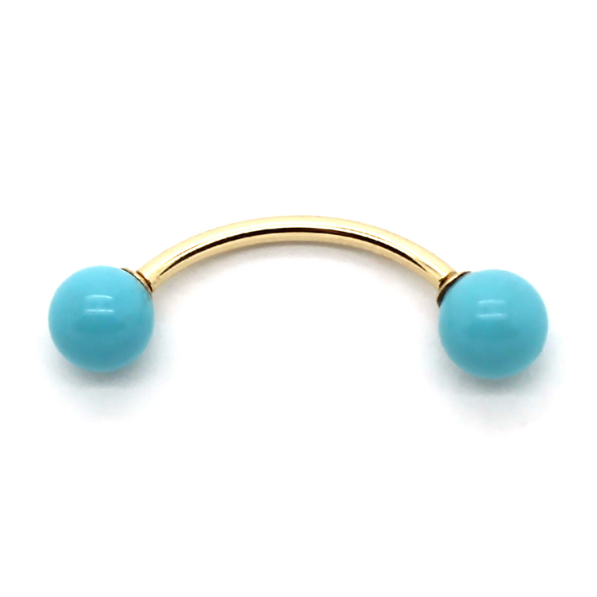 14K Yellow gold Curved Barbell with Turquoise Beads in 14, 16, or 18 Gauge