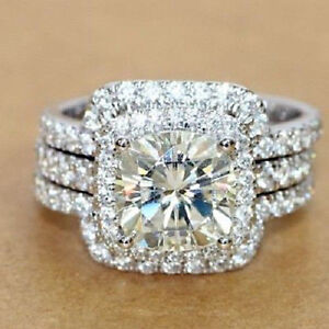 Certified-2-70Ct-White-Round-Cut-Diamond-14K-Gold-Engagement-amp-Wedding-Ring-Sets