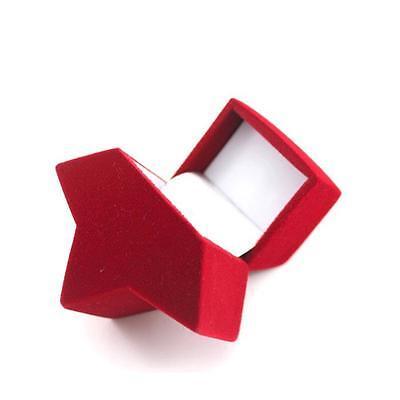Pretty Jewellery Box Red Star Shape Case Ring Ear Stud Earring Eardop Container