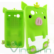 Pellicola+Custodia silicone PIG verde pr Samsung Galaxy S Advance i9070 maialino