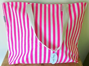 Grand sac fourre-tout grand pour tricoter & Crafts, plage, shopping rose vif à rayures  </span>