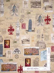 Travel-Tourist-Europe-Rome-Cotton-Fabric-Robert-Kaufman-Heirloom-Diary-Yard
