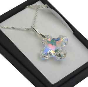 925-Collar-De-Plata-Hecho-con-Cristales-de-Swarovski-CRISTAL-AB-Cruz-griega-14-28