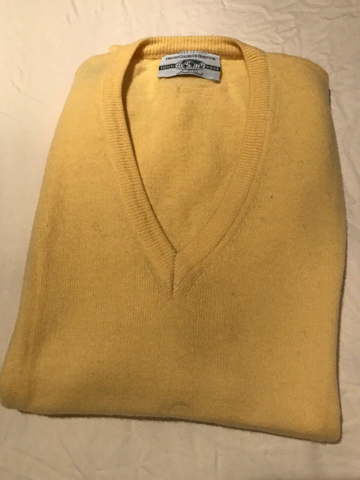 Men's M Größe 48 Benetton Vest Sweater Was 135 Made In  Lamb's Wool NWOT