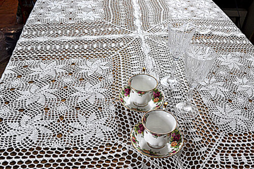 """Crochet Vintage Lace Tablecloth Table Runner Topper Cover Home IVORY 31/""""x31/"""""""