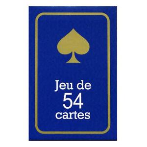 JEU DE 54 CARTES - EXTRA FINES - FORMAT POKER PLASTIFIEES - DOS BLEU