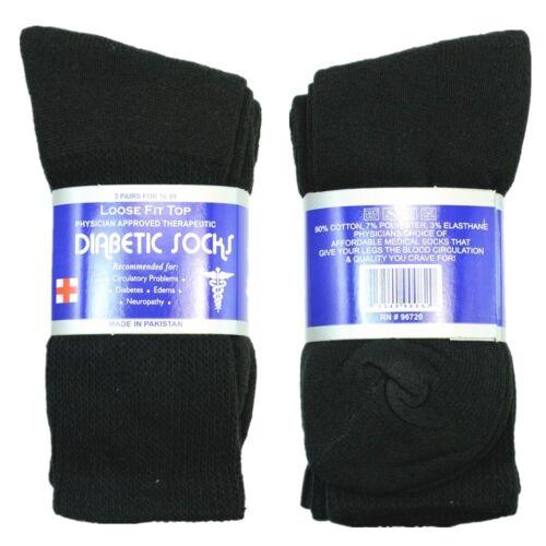 3 Pairs Diabetic Crew Circulatory Socks Health Mens Cotton Size 9-15 Long BK