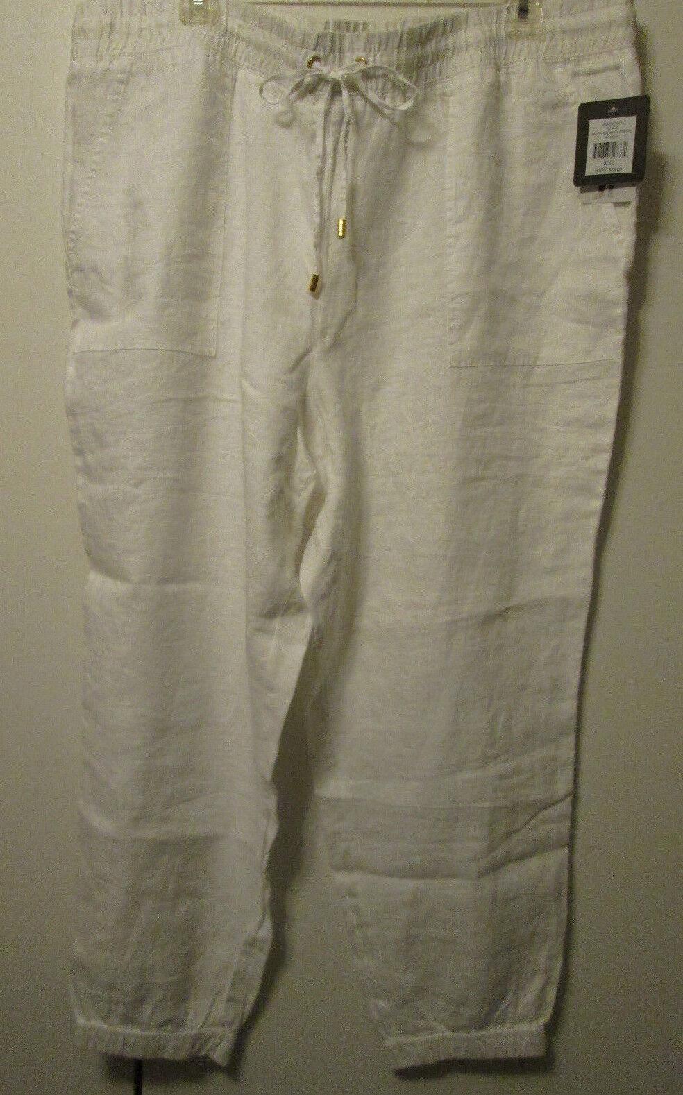 69 Company Ellen Tracy Linen Chalk White Long Cargo Pants Size XXL 2X NWT