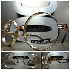 Men s Round Gold Frame Glasses : Mens Women CLASSIC VINTAGE Style Clear Lens EYE GLASSES ...