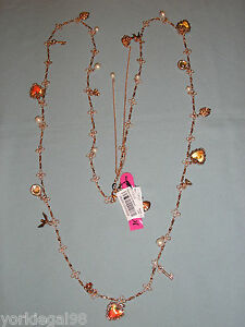 Betsey-Johnson-Rosetone-Think-of-Me-Long-Strand-Charm-Necklace-New-With-Tag
