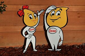 OLD-STYLE-24-034-ESSO-MOTOR-OIL-OIL-DROP-GIRL-BOY-SET-THICK-STEEL-SIGN-MADE-IN-USA