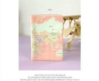 New World Map Passport Holder Protect Cover Card Bag Ticket Container Pouch Pink