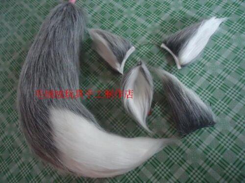 Wolf Fox Party Ears Tail long fur Plush Halloween Cosplay Costume Prop Custom
