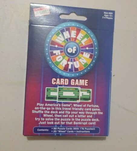 2-4 Players Ages 12+ WHEEL OF FORTUNE CARD GAME Fast Paced Traveling