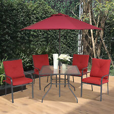 6pcs Sling Folding Patio Dining Set Stacking Chairs w/ Umbrella Red