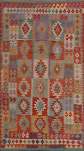 Geometric-Reversible-Kilim-Southwestern-Oriental-Area-Rug-Hand-woven-Wool-7-039-x10-039