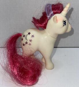 MLP G1 My Little Pony 1983 MOONDANCER White Unicorn Stars & Crescent Moon Vtg