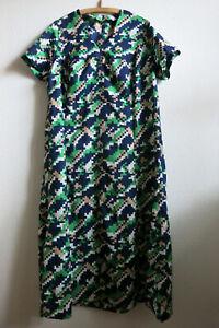 70's - true Vintage - Damen - Kleid - blau grün weis beige ...
