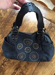 Image Is Loading Womens Handbags And Purses Charcoal Black Metal Studded