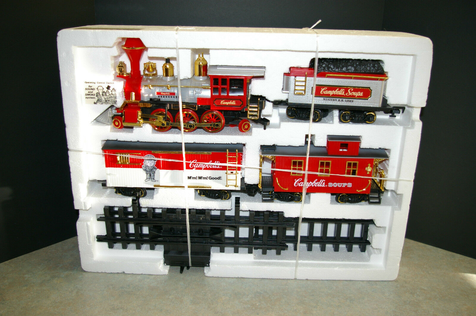 RARE 1986 NEW BRIGHT 'CAMPBELL'S SOUP' TRAIN SET C TESTED AND WORKS