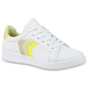 Damen Low Top Sneaker Sportschuhe Schnürschuhe Freizeit Schuhe Weiß Silber 17548