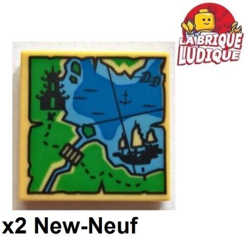 Lego 2x Tile decorated 2x2 carte Map Ninjago pagode pagoda bateau 3068bpb1098 NW