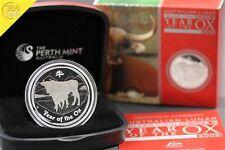 Australien Lunar II Ochse Ox 1 Unze oz Silber 2009 PP