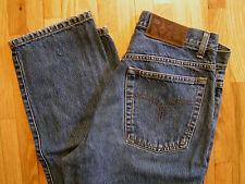 "Vintage RRL Button Fly BLUE JEANS Men 32 x 34"" (30x34) Ralph Lauren 90s Made USA"