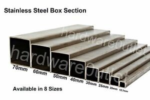 Details about Stainless Steel SQUARE BOX Section grade 304 - 8 Sizes & 10  Lengths Available