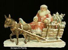 German Embossed Vintage Style Scrap Die Cut-Lrg. Christmas Santa & Sleigh BK5129