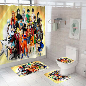 Japan Anime Goku Naruto0 Luffy Shower Curtain Mat Non-Slip Toilet Lid Cover 4PCS