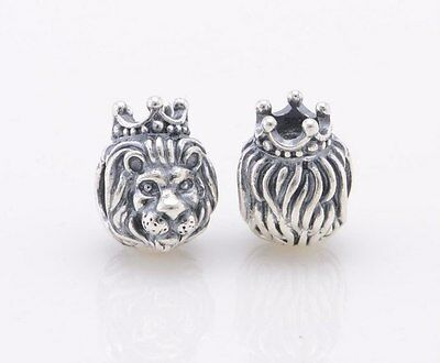 LION KING OF JUNGLE 925 Sterling Silver Solid Charm Bead for Bracelet