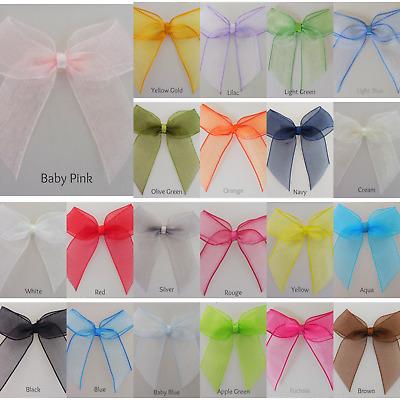Organza Ribbon Bows-Self Adhesive Wedding Bow,Craft 5cm 15mm Organza Ribbon