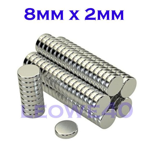 Forte magnete Rotondo 8mm x 2mm TERRE RARE NEODIMIO 761