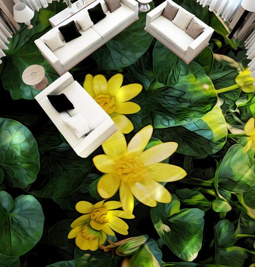 3D Blumen Frösche Fototapeten Wandbild Fototapete Tapete Familie DE Lemon