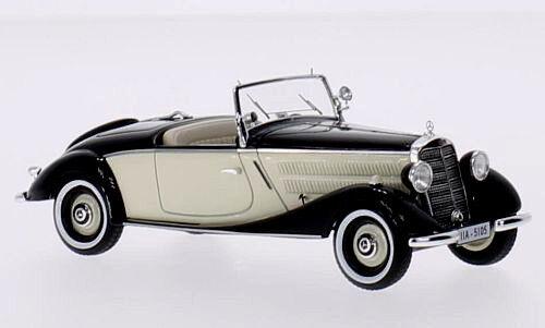 Merveilleux MODELCAR MERCEDES 170 V Roadster 1936-Noir Beige - 1 43 - Lim. Ed.