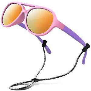 bb2145725de Image is loading RIVBOS-Rubber-Kids-Polarized-Sunglasses-With-Strap-Shades-