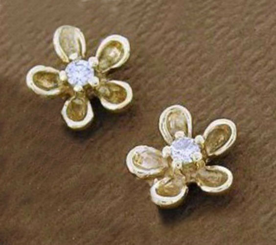 02c8a489d E081 Genuine 9ct gold NATURAL Diamond BLOSSOM Stud Earrings Forget-me-not  Flower