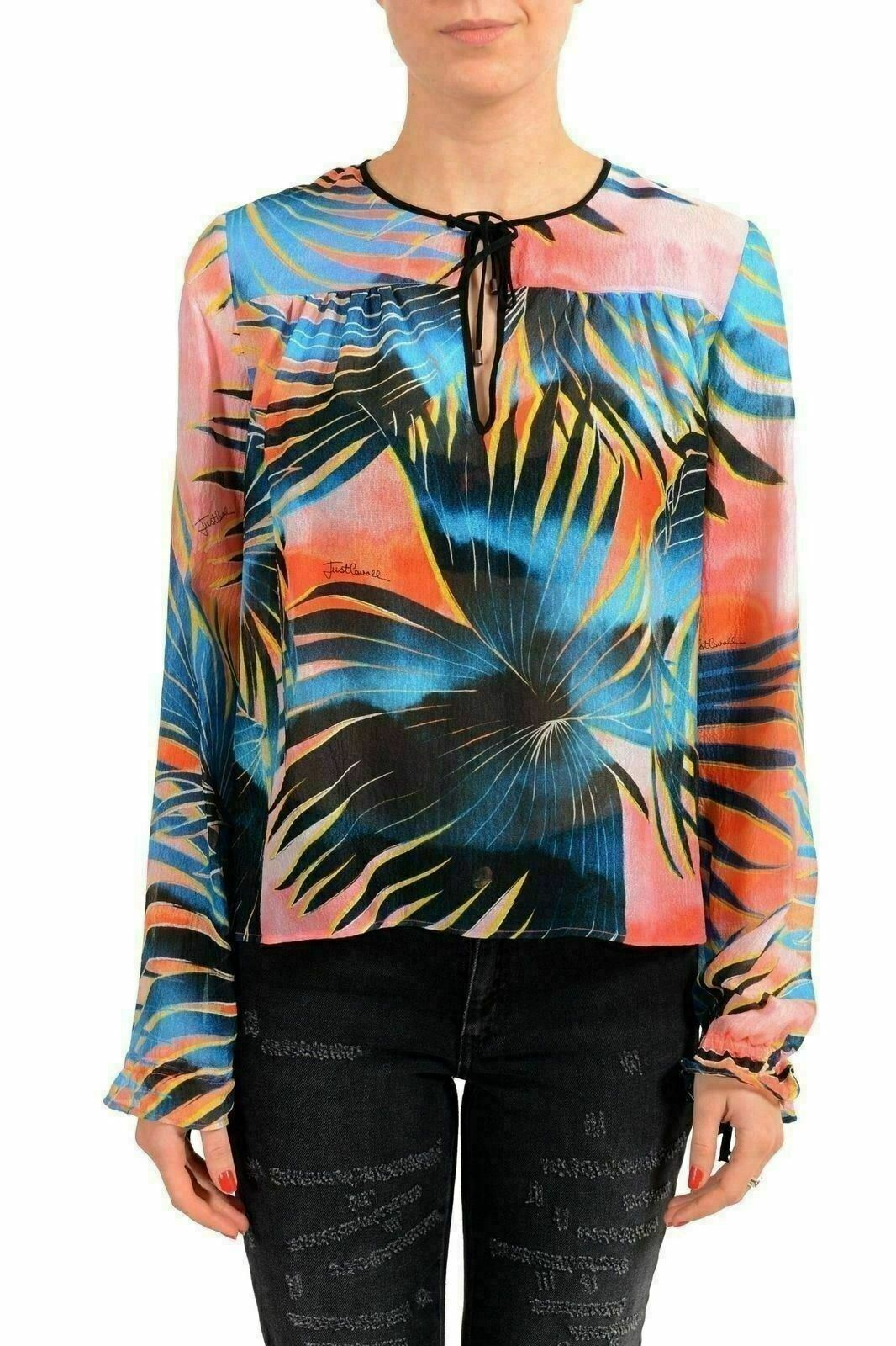 Just Cavalli 100% Seta Multicolore Manica Lunga Donna Camicetta USA S It 40