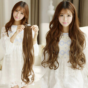Image is loading Long-Womens-Hair-Extensions-Weave-Curly-Synthetic-Clip- 07164fea1c