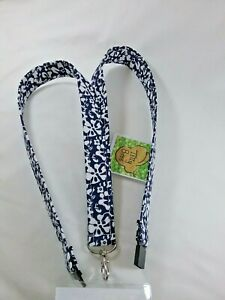 Handmade blue pink stars Fabric lanyard ID badge holder safety clip xmas gift
