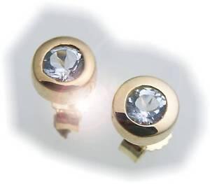 Damen-Ohrringe-Stecker-Topas-Gold-585-Gelbgold-Ohrstecker-Blautopas-blau
