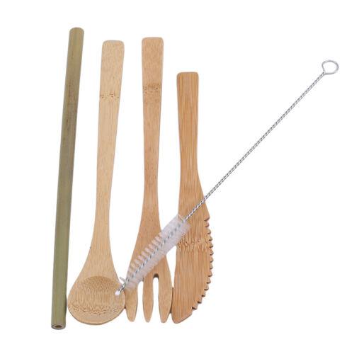 Bamboo Utensil Set Portable Travel Cutlery Bamboo Spoon Fork Blade Straw shan