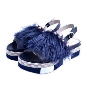 Sandalias-zapatos-Jeannot-mujer-piel-tejido-azul-noche-plumas-perlas-cuna-goma