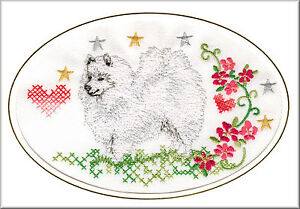 Image Is Loading Japanese Spitz Birthday Card Or Notecard Embroidered By