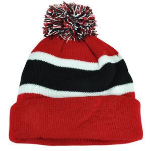 Plain Blank Striped Cuffed Red Black Thick Hat Beanie Pom Pom Knit ... c25f65ef88c5